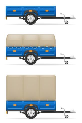 metta il rimorchio dell'automobile delle icone per il trasporto delle merci vector l'illustrazione
