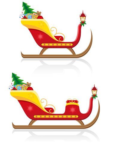 la slitta di natale del Babbo Natale con l'illustrazione di vettore dei regali