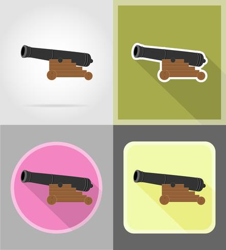 antique cannon flat icons vector illustration