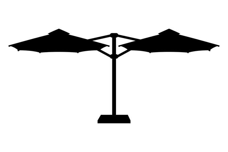 grote parasol voor bars en cafes op het terras of het strand zwarte omtrek silhouet vectorillustratie