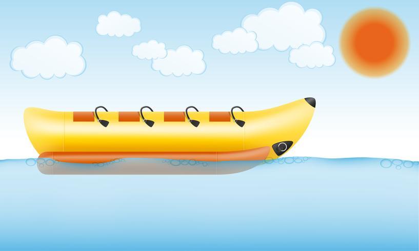 Bote inflable de plátano para la ilustración de vector de diversión de agua