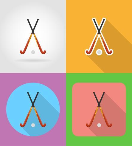 field hockey sport equipment flat icons vector illustration