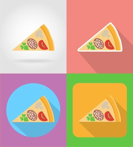 icônes plat de pizza Fast-Food avec l'illustration vectorielle ombre