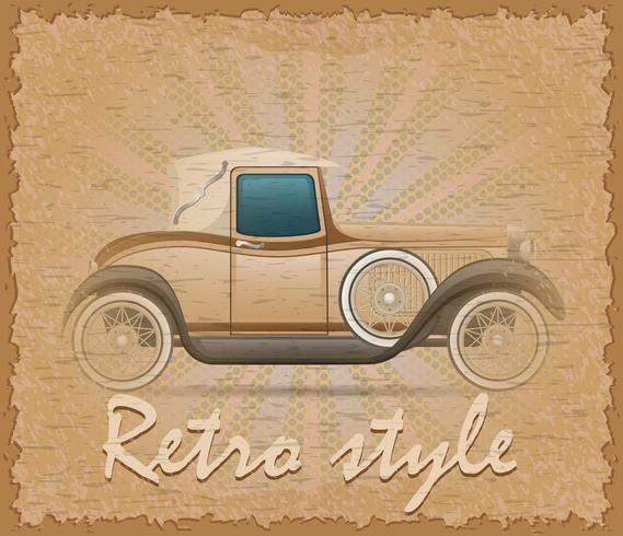 Ilustración de vector de estilo retro cartel coche viejo