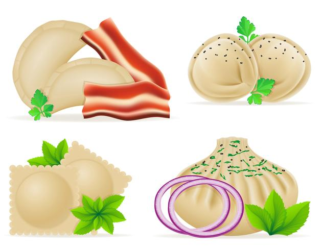 dumplings av deg med en fyllning och greens set ikoner vektor illustration