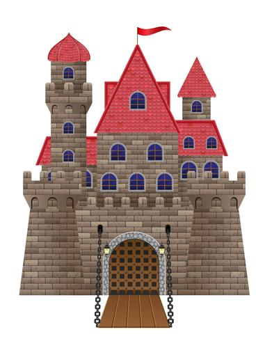 ancient old stone castle vector illustration