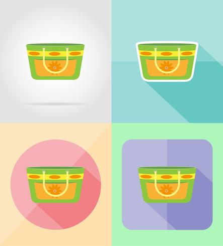 beach bag flat icons vector illustration