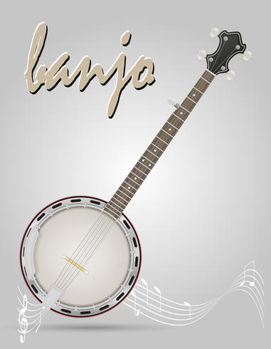 banjo musical instruments stock vector illustration