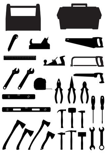 silueta negra conjunto de iconos de herramientas vector illustration