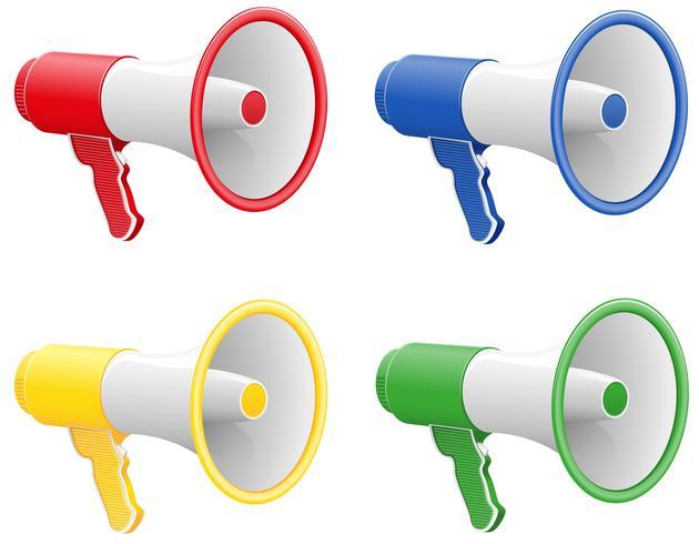ilustração em vetor megafones coloridos