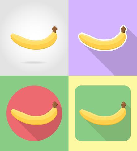 frutas banana definir plano ícones com a ilustração do vetor de sombra