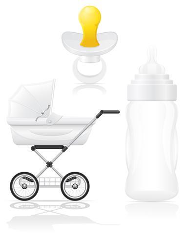 conjunto de iconos perambulator botella y chupete ilustración vectorial vector