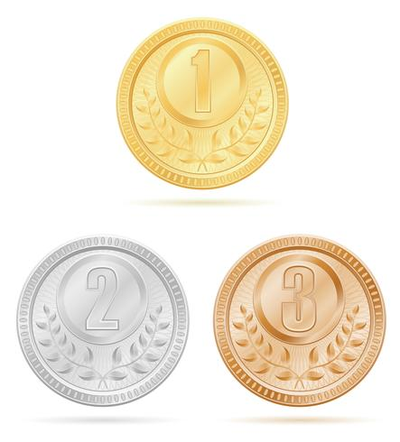 medal winner sport gold silver bronze stock vector illustration