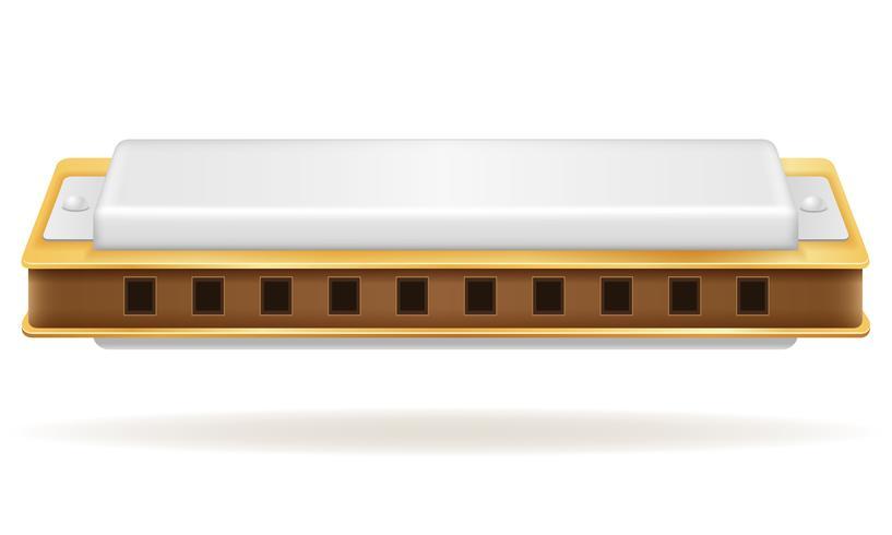 harmonica wind musical instruments stock vector illustration