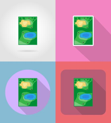 field for golf flat icons vector illustration