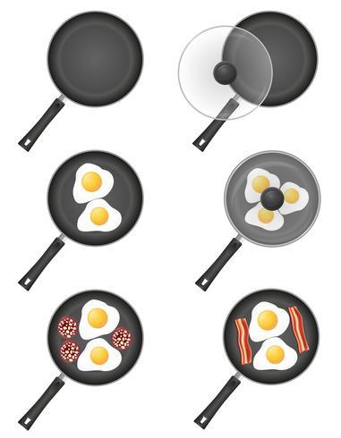 establecer iconos huevos fritos en una ilustración de vector de sartén