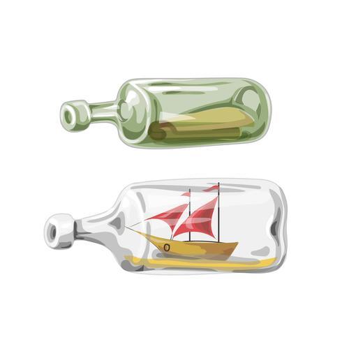 Bateau pirate en bouteille, de lettre, illustration vectorielle vecteur
