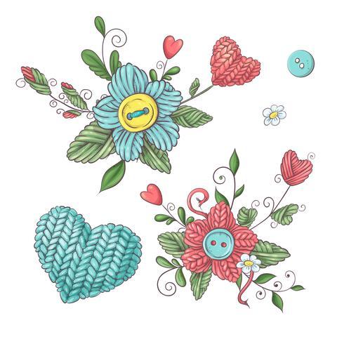 Set per fiori fatti a mano ed elementi ed accessori per uncinetto e maglieria. vettore