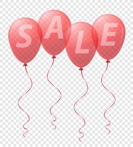 balões vermelhos transparentes com a ilustração em vetor venda inscrição