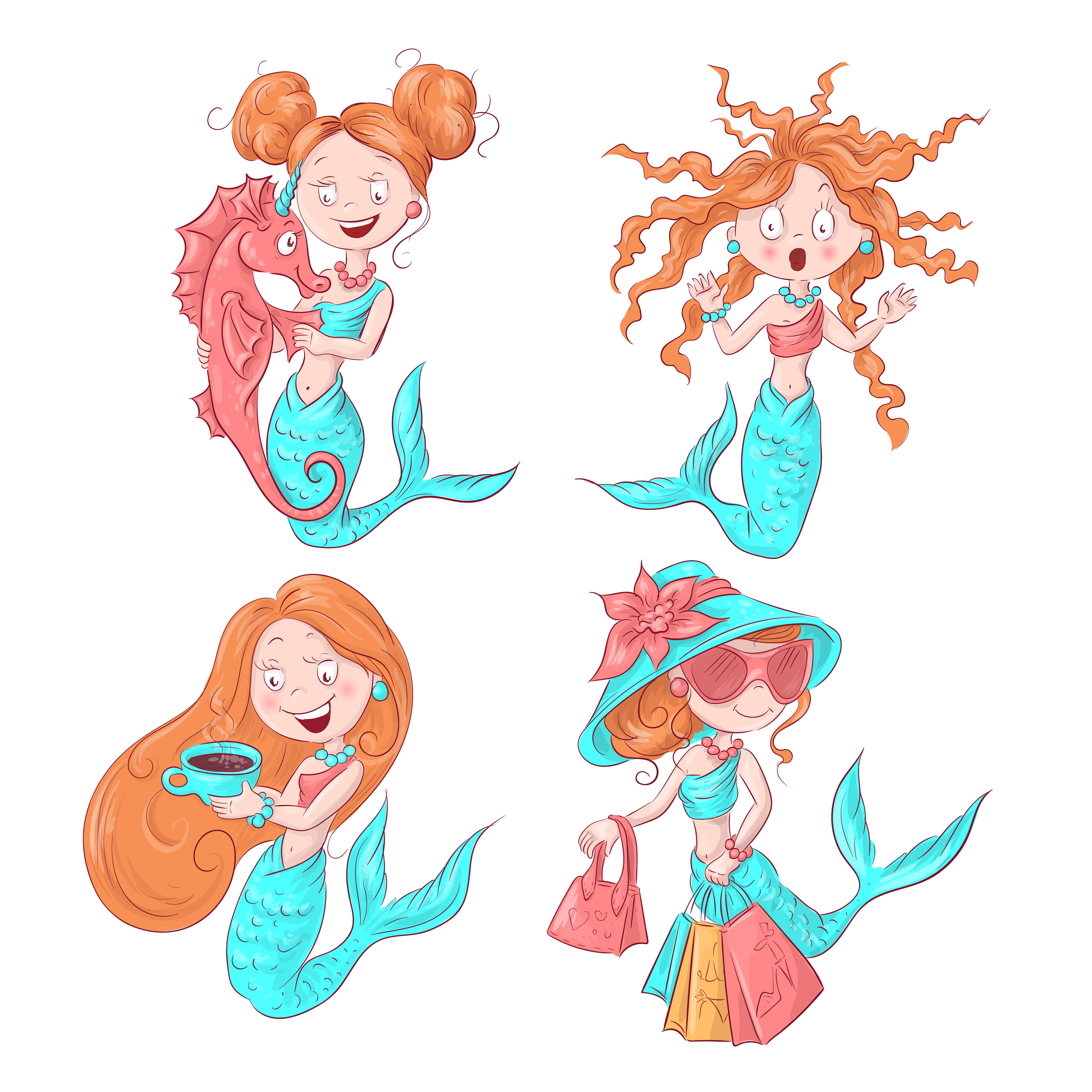 Vector illustration of cute mermaid. Vector illustration ...