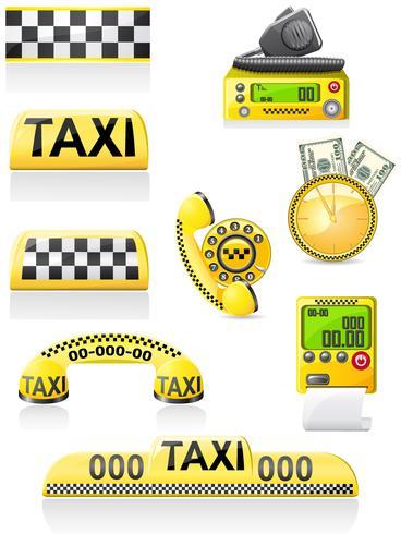 Los iconos son símbolos de taxi.