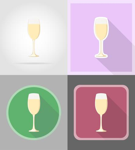 champagne in a glass flat icons vector illustration