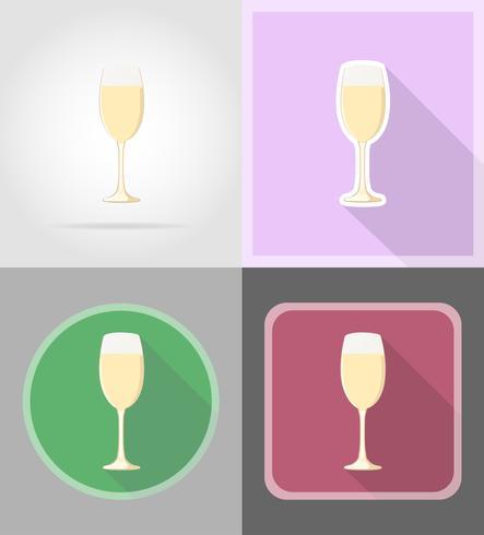 champanhe em uma ilustração em vetor ícones plana vidro