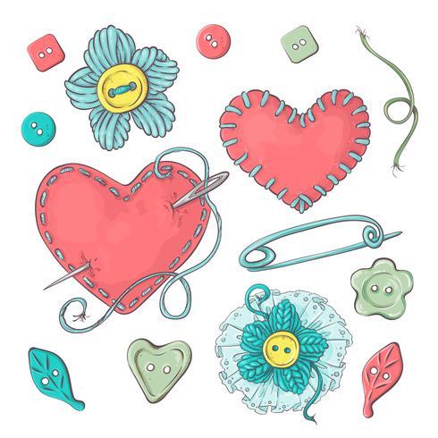 Conjunto para flores y elementos de punto hechos a mano y accesorios para crochet y tejido. vector