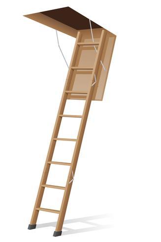 scala di legno per l'illustrazione vettoriale soffitta