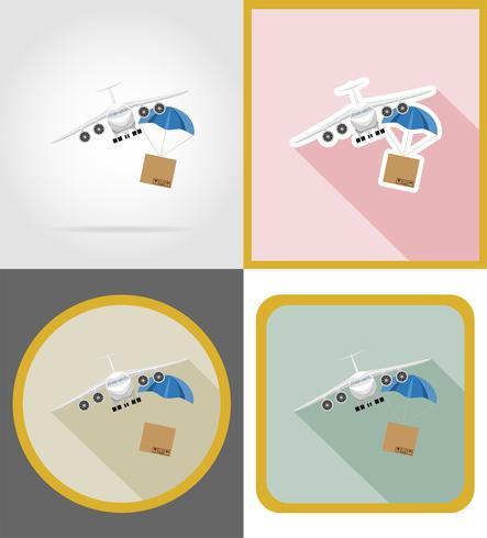 Ilustración de vector de iconos planos de entrega de aviones