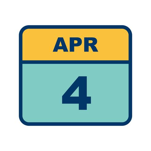 4 de abril Fecha en un calendario de un solo día