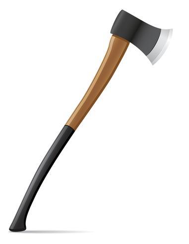 Hacha de herramientas con mango de madera ilustración vectorial