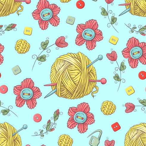 Cute seamless pattern of balls of yarn, buttons, skeins of yarn or knitting and crocheting. vector