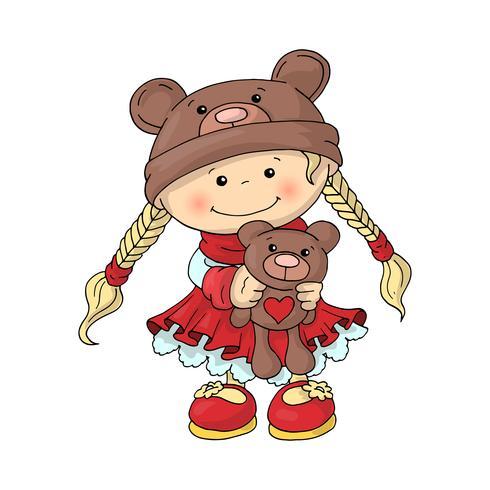 Una niña linda con un sombrero de oso de peluche en un elegante vestido rojo, con un oso de peluche en sus manos.