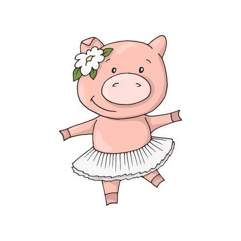 Nettes kleines süßes reizend Karikaturtanzenmädchen piggy.