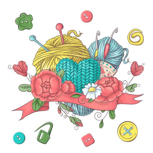 Instellen voor handgemaakte logo sjabloon, elementen en accessoires voor haken en breien.
