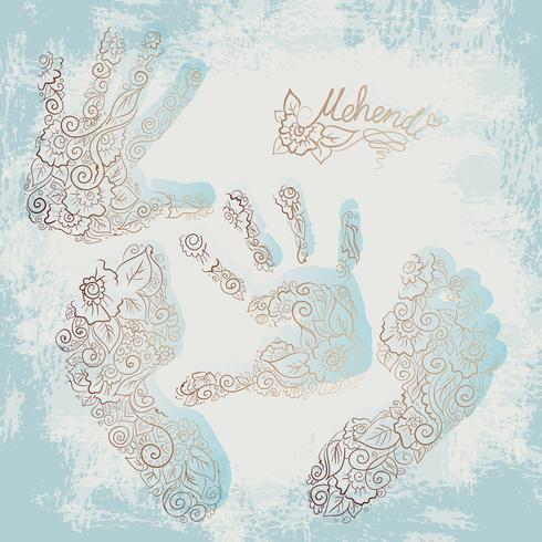 Stampa di palme e piedi per bambini. Set Mehendi.
