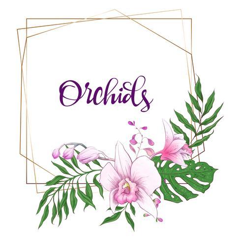 Floral design geometric frame. Orchid, eucalyptus, greenery. Wedding card. vector