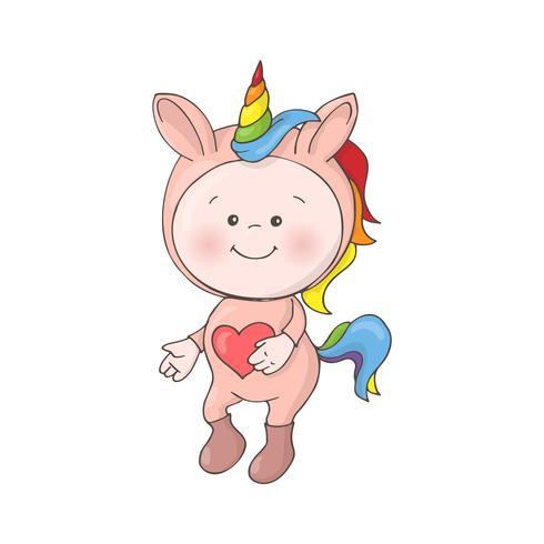 Mignonne petite Licorne de bébé sur fond flou vecteur
