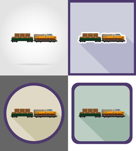 delivery by rail train flat icons vector illustration