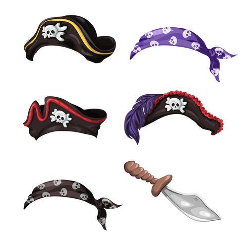 Chapéus de pirata dos desenhos animados, lenços com caveiras e uma faca. vetor