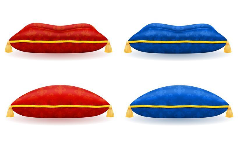 röd blå satin kudde med guld rep och tofs vektor illustration