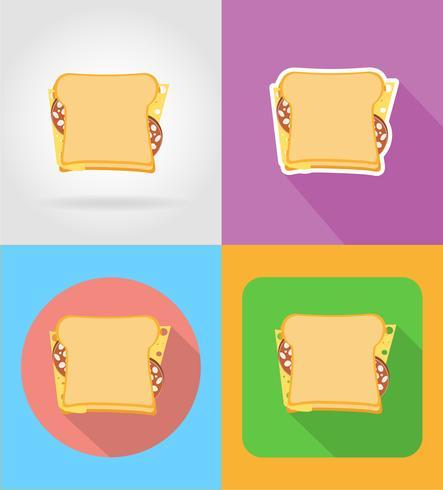 sandwich fastfood plat pictogrammen met de schaduw vectorillustratie
