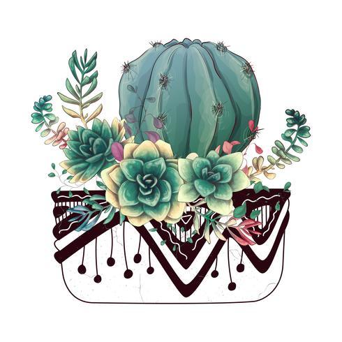 Kort med kaktus och succulenter. Växter av öken.