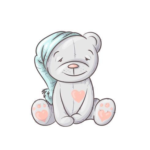 Sömnig gullig tecknad björn i locket.