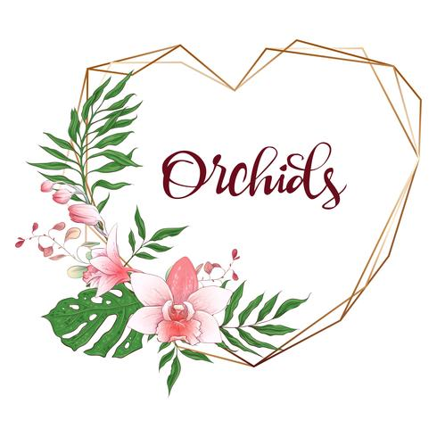 Marco geométrico de diseño floral. Orquídeas, eucaliptos, zonas verdes. Tarjeta de boda.