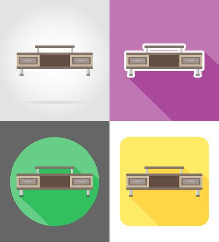 tv bordsmöbler sätta platt ikoner vektor illustration