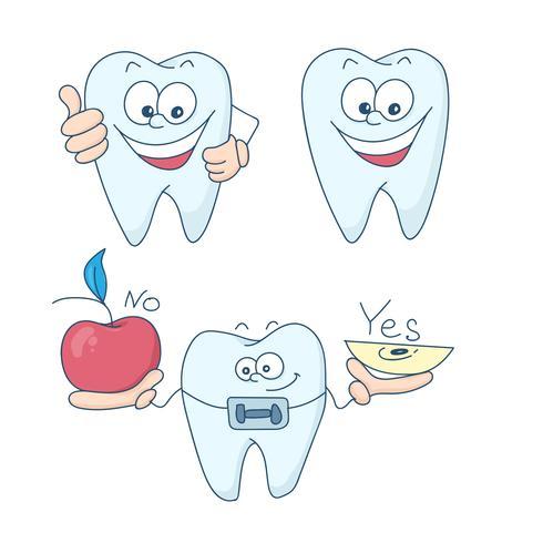 Arte sobre o tema da odontologia infantil. Dentes com aparelho.