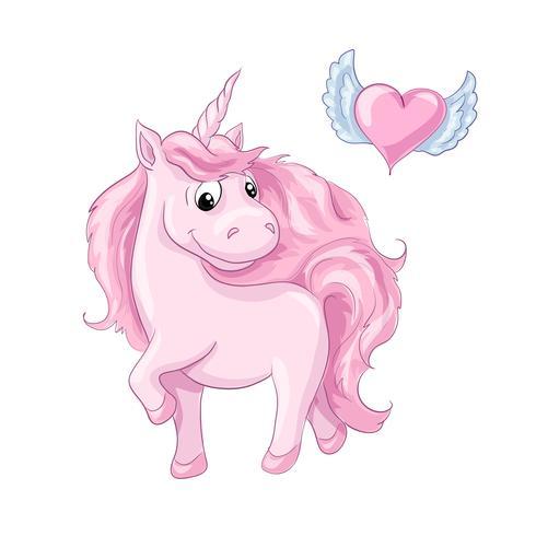 Söt tecknad tecken rosa enhörning och hjärta med vingar.