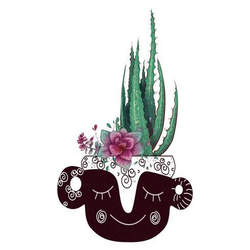 Kaart met geplaatste cactussen en succulents. Planten van woestijn.